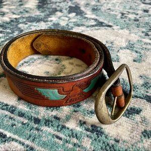 VTG Brown Leather Teal Eagle Belt Size 32